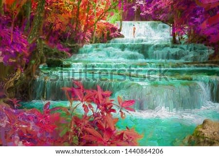 Beautiful landscape pictures of waterfalls and colorful forests in fantasy forest pictures for room decoration and relaxation. Abstract digital oil painting.