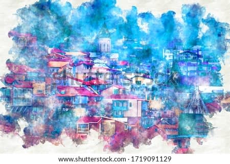 A digitally constructed painting Georgia Tbilisi. View of Old Tbilis