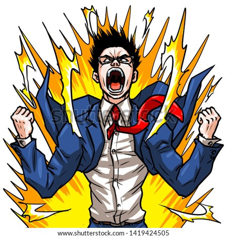 business man angry shout illustration