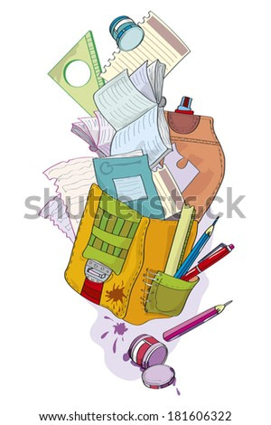School brief case with notebook - illustration. Disorder in school brief case, writing-books, handles, ink are scattered. Illustration done in cartoon style.