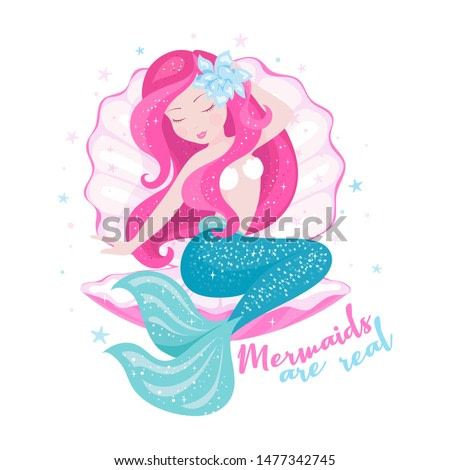 Beautiful mermaid with shell for t shirts or kids fashion artworks, children books. Fashion illustration drawing in modern style. Cute Mermaid with red hair. Girl print