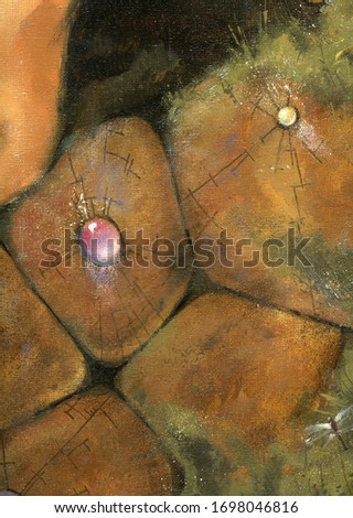 Ancient stone wall. Rock, gem, moss, grass. Canvas, oil. Artistic background. Old architecture.
