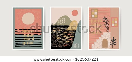 Mid century boho style modern abstract landscapes. Contemporary artistic cards, posters, prints. Nursery home decoration, wall art in neutral terracotta colors. Modern art illustration