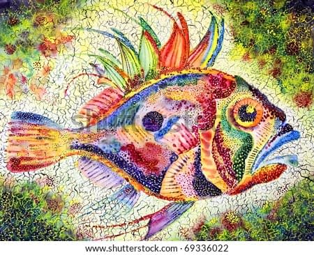 Fish bright stylized with a huge eye and prickly fins drawn on a water color paper water color colors