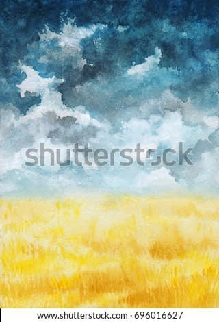 Watercolor Illustration with Dark Sky, Clouds and Wheat Field