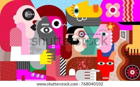 Group of five strange people and one dirty dog modern abstract fine art vector illustration.