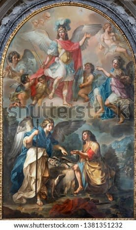 CATANIA, ITALY - APRIL 7, 2018: The painting of Tobias and archangel Raphael in church Chiesa di San Benedetto by Matteo Desiderato (1780).