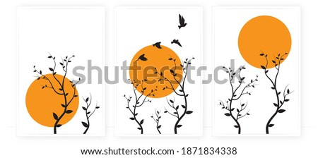 Flying birds silhouettes and trees illustration on sunset, vector. Scandinavian minimalist three pieces of poster design. Modern wall art design, artwork. Beautiful painting design. Home decoration