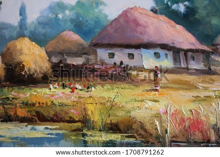 farmhouse on a sunny day with a haystack, a fragment of the landscape,fine art, oil painting, landscape, rural, architecture, village, water