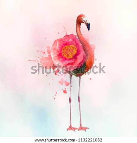 digital painting of Pink flamingo with flower