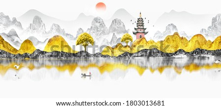 Chinese style golden landscape painting