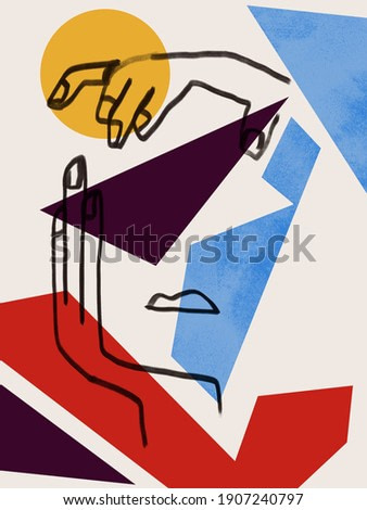 Colorful abstract neoplasticism and cubism art style With woman portrait line art. Painting with primary color in Mondrian style with abstract people. For print and wall art.