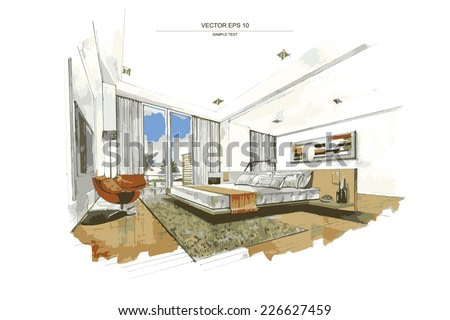 Vector interior sketch design of bedroom. Watercolor sketching idea on white paper background.