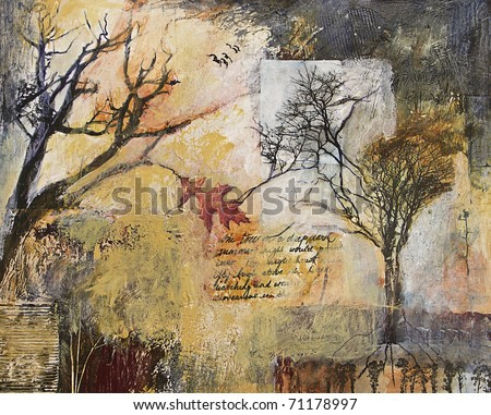 Mixed media abstract painting with tree and branches