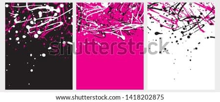 Set o 3 Abstract Geometric Layouts. Irregular Handmade Black, White, Pink Splashes on a Pink, White and Black Backgrounds. Funny Simple Creative Design. Infantile Style Expressive Painting.