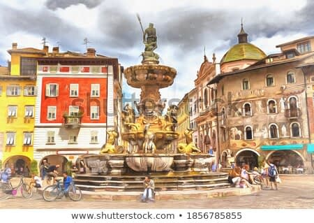 Cathedral square colorful painting, Trento, Trentino Alto Adidge, Italy.