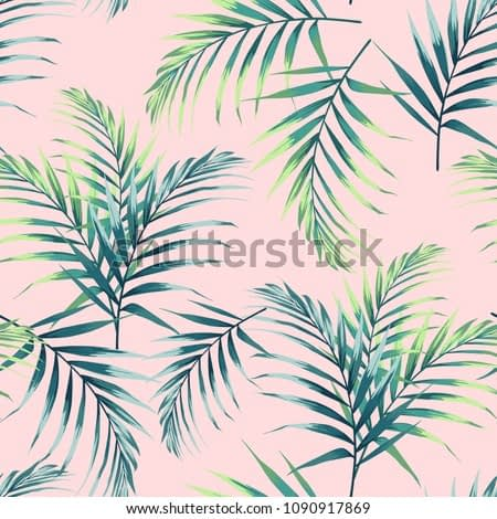 Seamless pattern with tropical leaves. Dark and bright green palm leaves on the light pink background. Vector seamless pattern. Tropical illustration. Jungle foliage. Vintage colors.