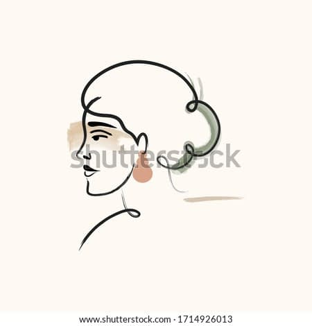 impressionism line drawing female woman portrait. minimalistic abstract shapes. matisse printable inspired. contemporary modern art.  Abstract female portrait. Vector illustration in pastel color.