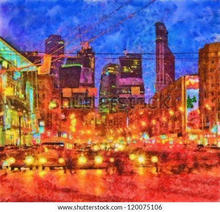 Digital structure of painting. Night cityscape