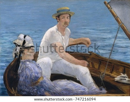 Boating, by Edouard Manet, 1874, French impressionist painting, oil on canvas. Manet uses large areas of flat color in a sunlight drenched outdoor scene