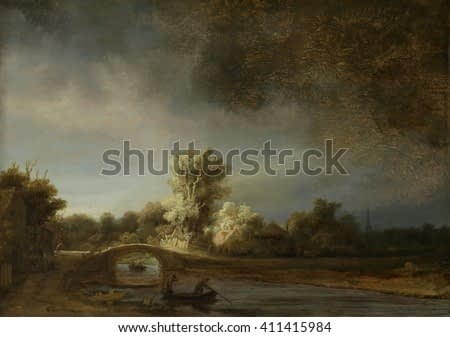 Landscape with a Stone Bridge, by Rembrandt van Rijn, 1638, Dutch painting, oil on panel. This is probably an imaginary storm scene, with a beam of sunlight contrasting to the approaching dark clouds
