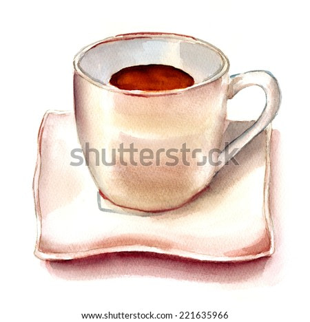 A watercolour cup of tea or coffee on a white background