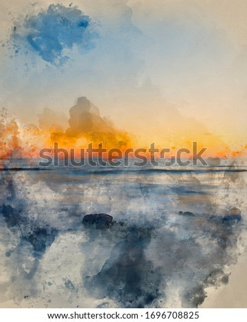 Digitally created watercolor painting of Beautiful Summer landscape sunset image of colorful sky over calm long exposure sea