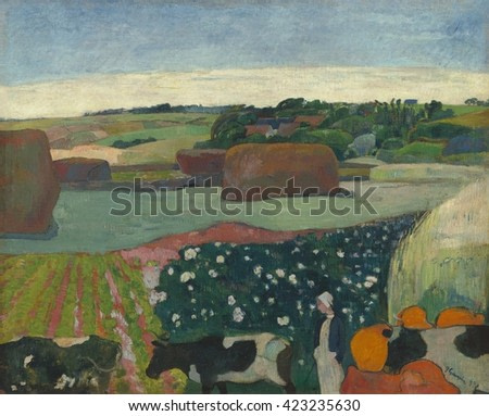 Haystacks in Brittany, by Paul Gauguin, 1890, French Post-Impressionist painting, oil on canvas. With forms simplified, abstracted to their essence, this stylized painting of Le Pouldu, Brittany, is