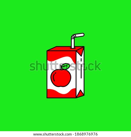Apple juice carton box packaging with straw vector illustration isolated on green background. Linear color style of apple juice packaging icon