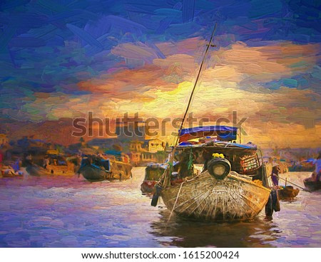 Colorful morning sunrise with lifestyle of local vietnamese living in a boat at Can Tho, most famous and biggest floating market in Mekong Delta, Vietnam- oil painting.