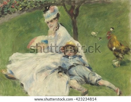 Madame Monet and Her Son, by Auguste Renoir, 1874, French impressionist painting, oil on canvas. Renoir was close to Monet and sometimes they worked together. This painting was in the collection of