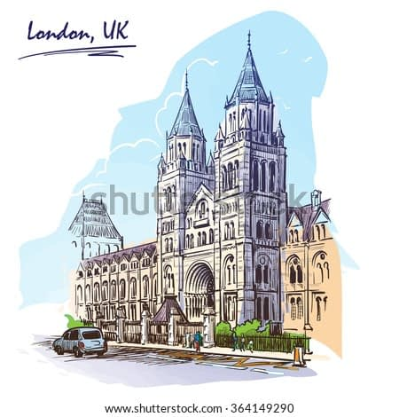 Panorama of the British Natural History Museum facade. Watercolor imitating painted sketch. EPS10 vector illustration.