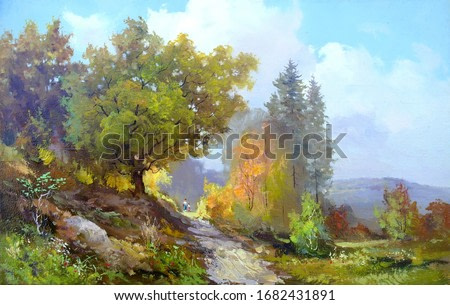 beautiful autumn landscape,oil painting, fine art,handmade painting, vibrant leaf colors, nature, road going up, sky with clouds, tree