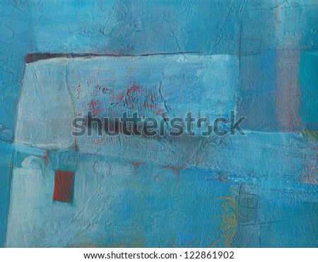 Textured blue abstract painting. Handpainted blue grunge background.