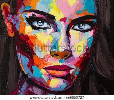 A no one in particular portrait, a compilation of different visions, memories and impressions - a fantasy woman face, a mixture of fauvism and pop art styles. Original oil painting on canvas,