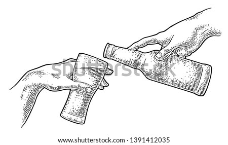 Male hand pouring beer from a bottle into a glass. Section fresco The Creation of Adam. Vector black vintage engraving illustration isolated on a white background. For web, poster