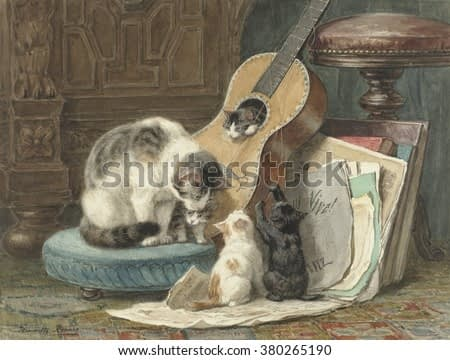 The Harmonists, by Henriette Ronner, 1876-77, Dutch watercolor painting, on paper. A mother cat sits on a footstool near her four kittens who with its broken strings. One kitten sits inside the instru