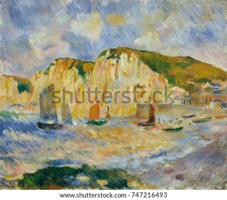 Sea and Cliffs, by Auguste Renoir, 1885, French impressionist painting, oil on canvas. Renoir painted this landscape with strong hatched straight brushstrokes