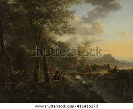 Italian Landscape with a Draughtsman, by Jan Both, 1650-52, Dutch painting, oil on canvas. Walking and riding travelers pass over a bridge in an Italian landscape. Four men on paused on the side of t