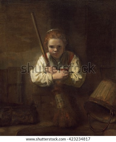 A Girl with a Broom, by Rembrandt's workshop, 1651, Dutch painting, oil on canvas. A young girl, holding a broom, stares directly at the viewer.