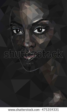 Black lives matter. African black woman poly face polygonal portrait vector, eps 8