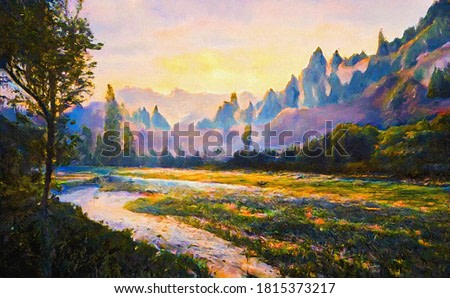 Bright morning landscape of the mountains with a winding small river. Digital painting structure