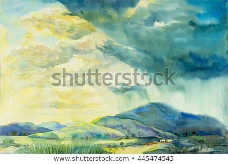 Watercolor landscape original painting colorful of sunny rain in mountain and emotion in cloud background