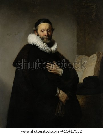 Portrait of Johannes Wtenbogaert, by Rembrandt van Rijn, 1633, Dutch painting, oil on canvas. 76-year-old Remonstrant minister, a follower of Jacobus Arminius who challenged aspects of Calvinist doct