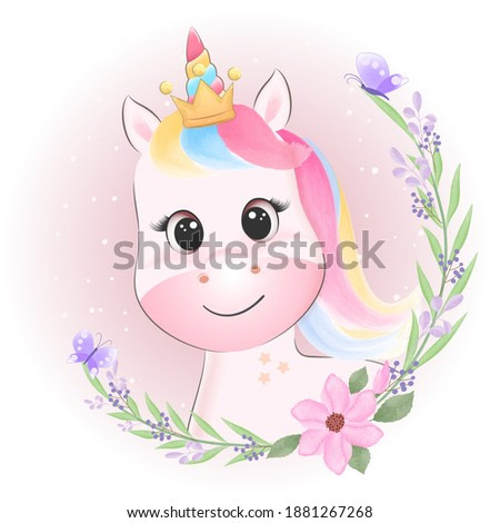 Cute Unicorn and wreath flower hand drawn cartoon animal watercolor illustration