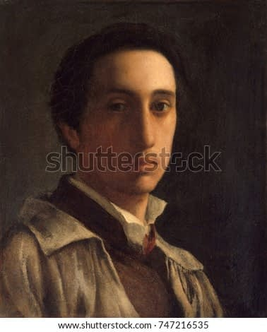 Self-Portrait, by Edgar Degas, 1855-56, French impressionist painting, oil on paper. This early self-portrait was made when Degas was strongly influenced by the Neo-Classical painter Jean-Auguste-Domi