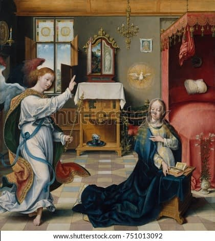 THE ANNUNCIATION, by Joos van Cleve, 1525, Netherlandish, Northern Renaissance oil painting. The Angel Gabriel and Virgin Mary within an elaborately furnished interior. The figures are painted with gr
