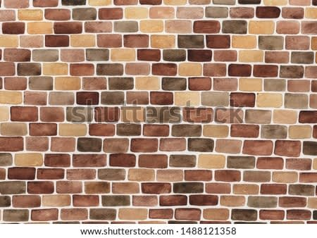 Brick wall watercolor hand painting for decoration on background.