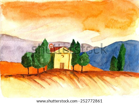 Italy Tuscany. Hand drawn watercolor painting landscape