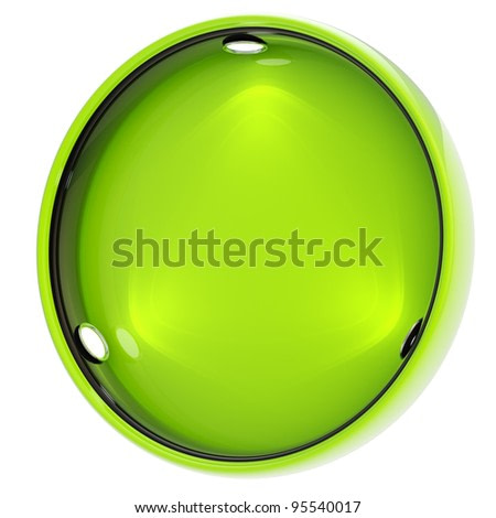 Shop window copyspace round green showcase with backlight illumination isolated on white
